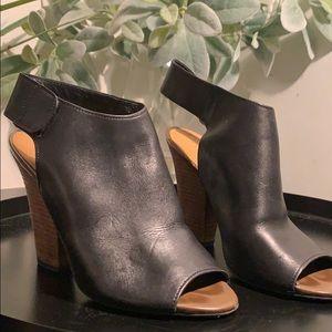 Leather Peep Toe Dress Sandals